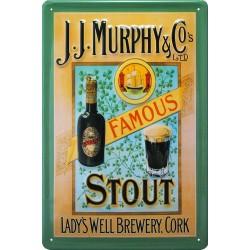 Plaque métal  publicitaire 20x30cm bombée en relief : J.J Murphy Famous Stout.
