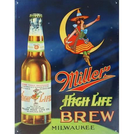 Plaque métal publicitaire 30x40cm plate : Miller high Life Brew.