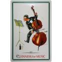 Plaque métal publicitaire 20x30cm bombée en relief : Guinness for music.