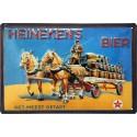 Plaque métal publicitaire 20x30cm bombée en relief : Heinekens's bier.