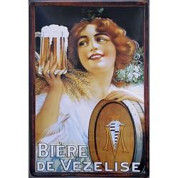 Plaque métal publicitaire 20x30 cm bombée en relief : Bière de Vézelise.
