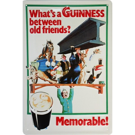 Plaque métal publicitaire 20x30cm bombée en relief : GUINNESS between old Friends