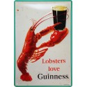 Plaque métal 20x30cm bombée en relief : Lobsters love GUINNESS.