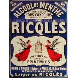 Plaque métal publicitaire 30x40cm plate : Ricqlès boisson Mentholée.