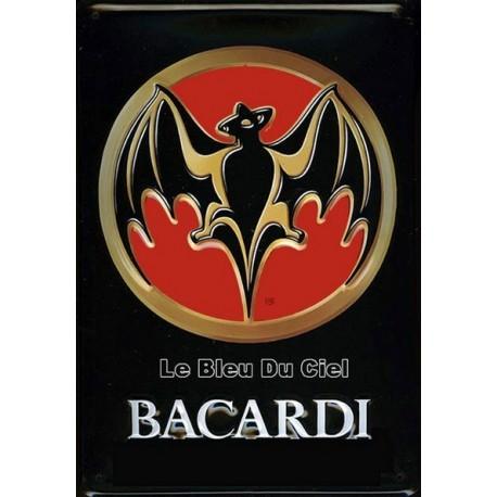 Plaquemétal publicitaire 20x30 cm bombée en relief :  Bacardi Bat.