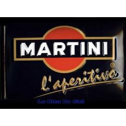 Plaque métal publicitaire 20x30 cm bombée en relief : Martini
