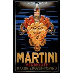 Plaque métal publicitaire 20x30cm bombée en relief : Martini raisin.