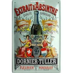 Plaque métal publicitaire 20x30 cm bombée relief : Absinthe Dornier-Tuller.