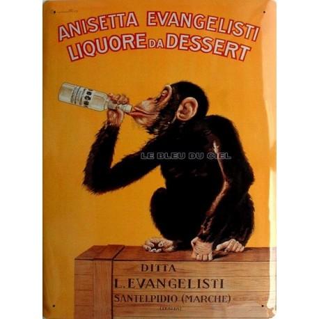 Plaque métal publicitaire 30x40cm bombée : Anisetta Evangelisti.