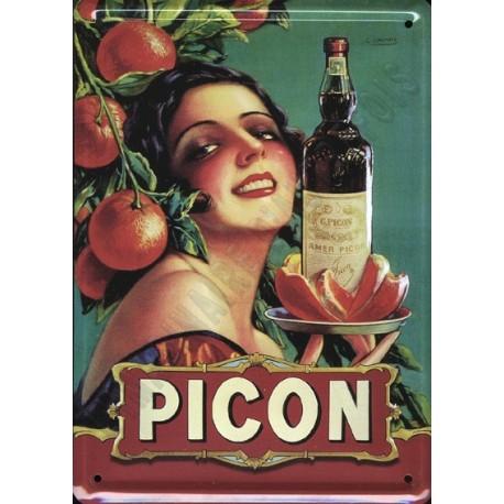 Plaque métal publicitaire 30x40cm bombée : Picon