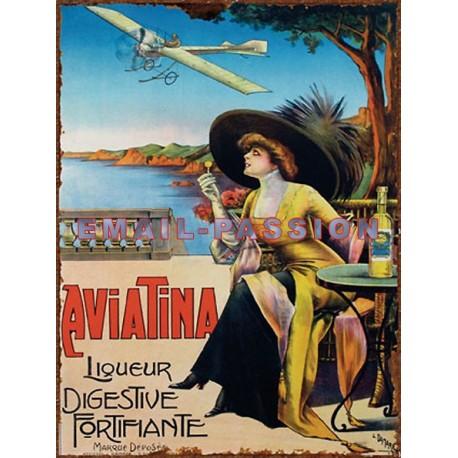 Plaque métal publicitaire 24x36cm plate : Liqueur Aviatina.