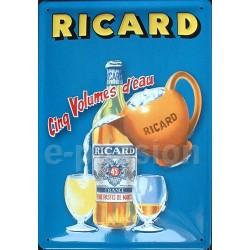 Plaque métal publicitaire20x30cm bombée en relief :  RICARD