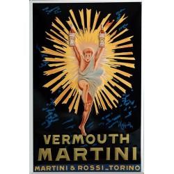 Plaque métal publicitaire 20x30cm  bombée en relief : Vermouth MARTINI