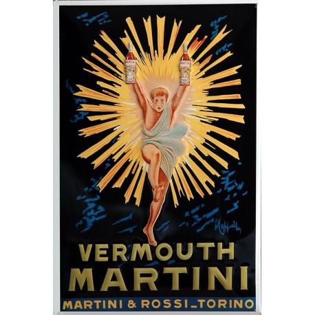 Plaque métal publicitaire 20x30cm bombée en relief : Vermouth MARTINI.