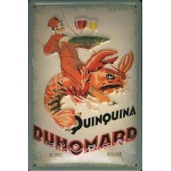 Plaque  métal publicitaire 20x30cm bombée en relief : Quinquina DUHOMARD