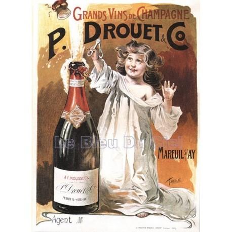 Plaque métal publicitaire 30x40cm plate : Champagne P. Drouet & Co.