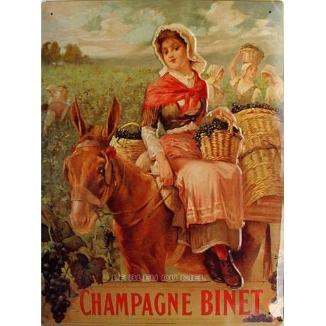 Plaque métal publicitaire 30x40cm plate : Champagne Binet.