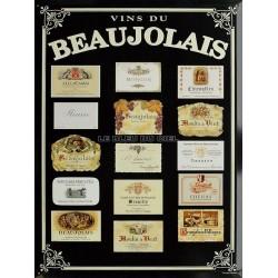 Plaque métal publicitaire 30x40cm plate, biseautée :  Vins du Beaujolais