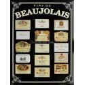 Plaque métal publicitaire 30x40cm plate, biseautée : Vins du Beaujolais.