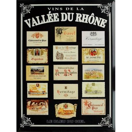 Plaque métal publicitaire 30x40cm plate, biseauté : Vins de la vallée du Rhône.