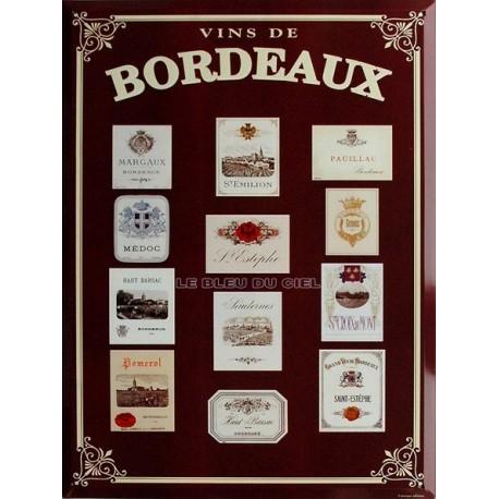 Plaque métal publicitaire  30x40 cm  plate, biseautée : Vins de Bordeaux