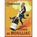 Plaque métal publicitaire 30x40cm plate : Champagne Vicomte de Moulliac.