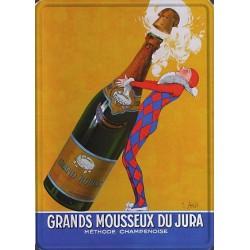Plaque métal publicitaire 30x40cm bombée : Grands mousseux du Jura.