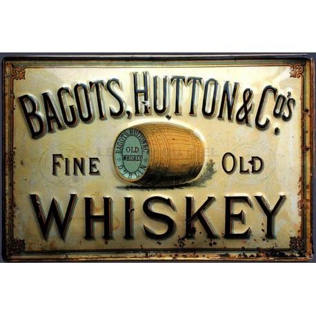 Plaque métal publicitaire 20x30cm bombée en relief : BAGOTS HUTTON WHISKEY.