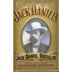 Plaque métal publicitaire 20x30 cm bombée en relief : JACK DANIELS Distiller