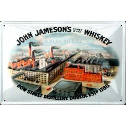 Plaque métal publicitaire 20x30 cm bombée en relief : JOHN JAMESON'S Distiller.