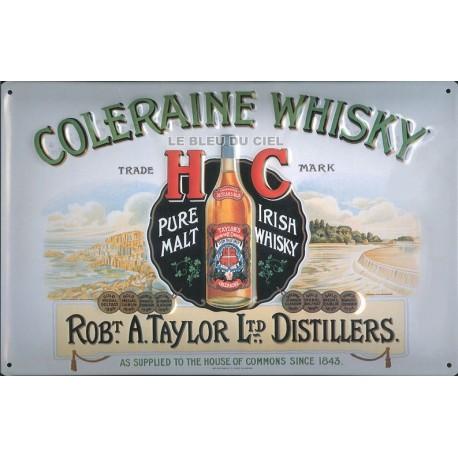 Plaque métal publicitaire 20x30 cm bombée en relief : Coleraine Whisky.