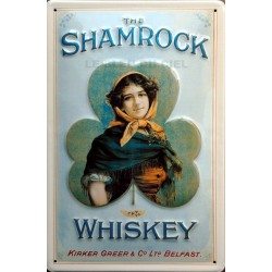 Plaque métal publicitaire  20x30cm  bombée en relief  : The Shamrock Whiskey.