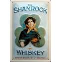 Plaque métal publicitaire 20x30cm bombée en relief : The Shamrock Whiskey.