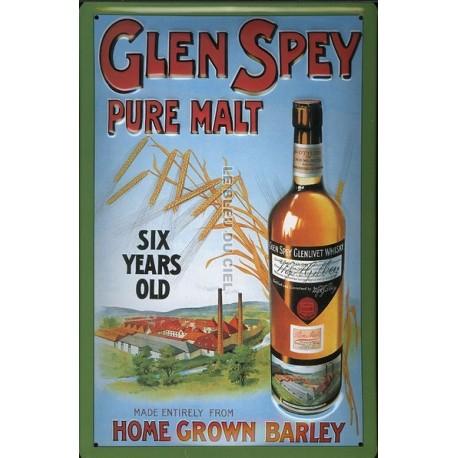 Plaque métal publicitaire 20x30 cm bombée en relief : Glen Spey Whisky Pure Malte.