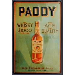 Plaque métal publicitaire 20x30 cm bombée en relief : Paddy The Whisky