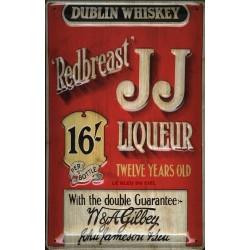 Plaque métal publicitaire 20x30 cm bombée en relief :  J.J liqueur Whisky Dublin