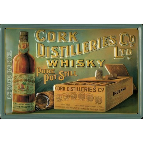 Plaque métal publicitaire 20x30 cm bombée en relief  : Cork Distilleries Whisky.