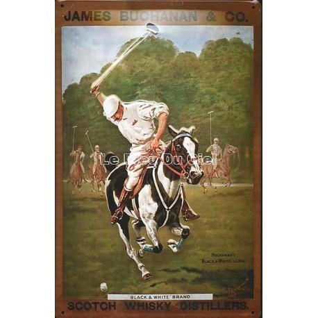 Plaque métal publicitaire 20x30 cm bombée en relief : James Bushanan Polo Whisky.