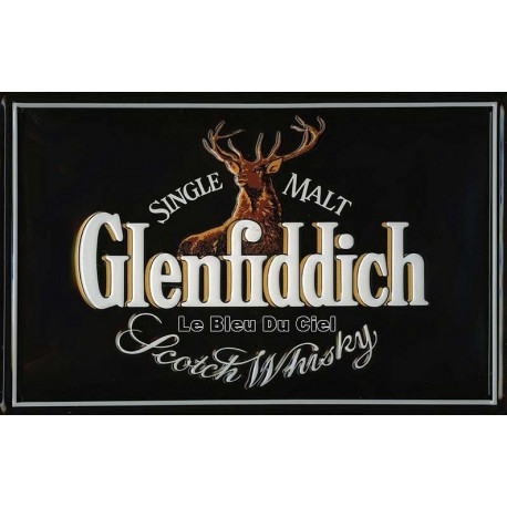 Plaque métal publicitaire 20x30 cm bombée en relief : Glenfiddich Whiskey.