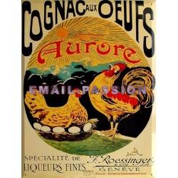 Plaque métal publicitaire 30x40cm plate : Cognac aux oeufs.