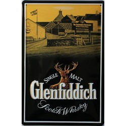 Plaque métal publicitaire 20x30 cm bombée en relief : Glenfiddich Scotch Whisky.