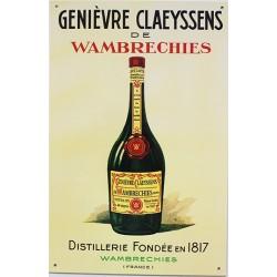 Plaque métal publicitaire 26x40cm plate relief : Genièvre claeyssens de Wembrechies.