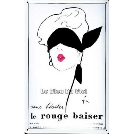 Plaque métal  publicitaire 20x30cm bombée en relief : Le Rouge Baiser.