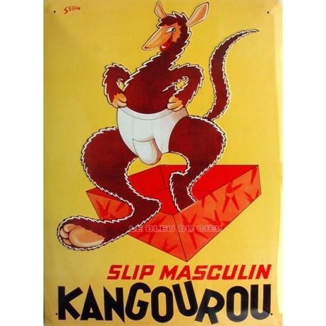 Plaque métal publicitaire 30x40cm bombée : Slip Kangourou.