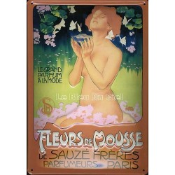 Plaque métal publicitaire 20x30 cm bombée en relief : Fleurs de Mousse.