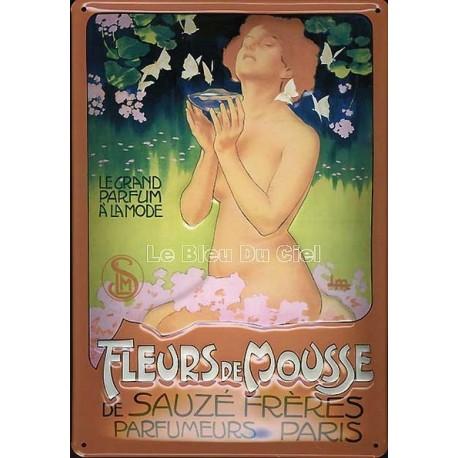 Plaque métal publicitaire 20x30 cm bombée en relief : Fleurs de Mousse