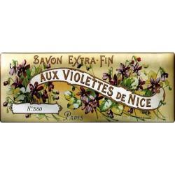 Plaque métal publicitaire 18 x 45 cm : Savon  Aux Violettes de Nice