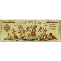 Plaque métal publicitaire 18 x 45cm : Savon des Jolis Bébés