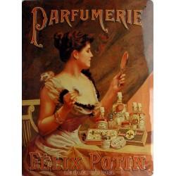 Plaque métal publicitaire 30x40cm bombée :  Parfumerie Félix Potin.