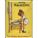 Plaque métal publicitaire plate 30x40cm : Savon Malaceïne.